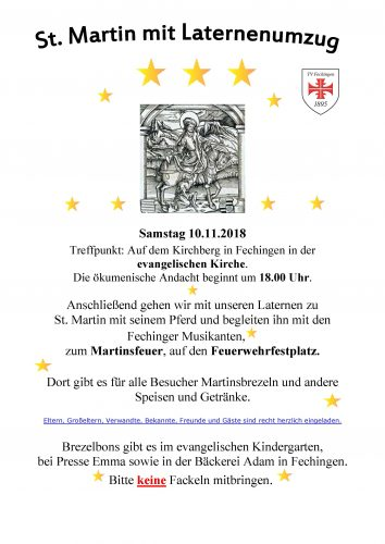 Martinsfest mit Laternenumzug am 10.11.2018