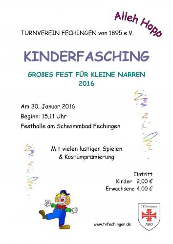 Plakat zum Kinderfasching 2016